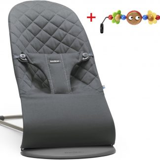 BABYBJÖRN Wipstoeltje Bliss Bundle - Antraciet Cotton inc speelboog