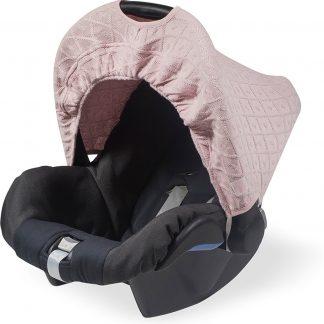 Jollein Diamond Knit - Zonnekap autostoel - Vintage Roze