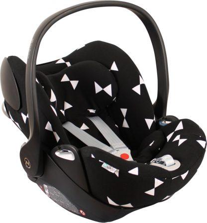 UKJE.NL Hoes zomerhoes autostoelhoes voor autostoel Cybex Cloud Q - Zwart met witte strikjes ♥