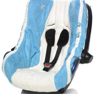 Wallaboo Autostoel zomerhoes - absorberend en sterk katoen - afgewerkt met suède - geschikt voor alle autostoeltjes groep 0 - Blauw