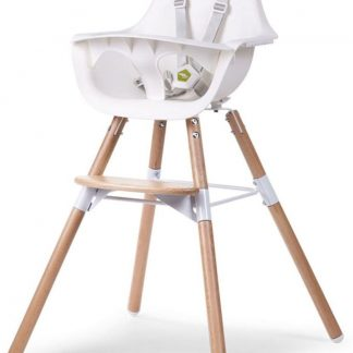 CHILDWOOD Evolu 2 - Kinderstoel 2 in 1 met beugel - Naturel/Wit