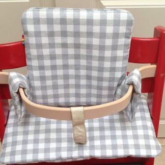 Geplastificeerd kussenset voor de Tripp Trapp kinderstoel van Stokke - Grote ruit grijs