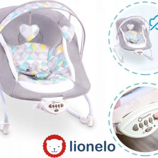 Lionelo Zoe wipstoeltje bouncer met 5 melodiën en vibratie vanaf de geboorte te gebruiken - Grijs