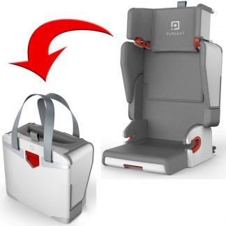 Purseat 4-in-1 autostoeltje, tas, reisbedje & zitverhoger - Opvouwbaar autostoeltje groep 2/3 - Opvouwbare autostoel voor kinderen van 15-36 kg - Ideaal voor huurauto en vliegtuig - Grijs