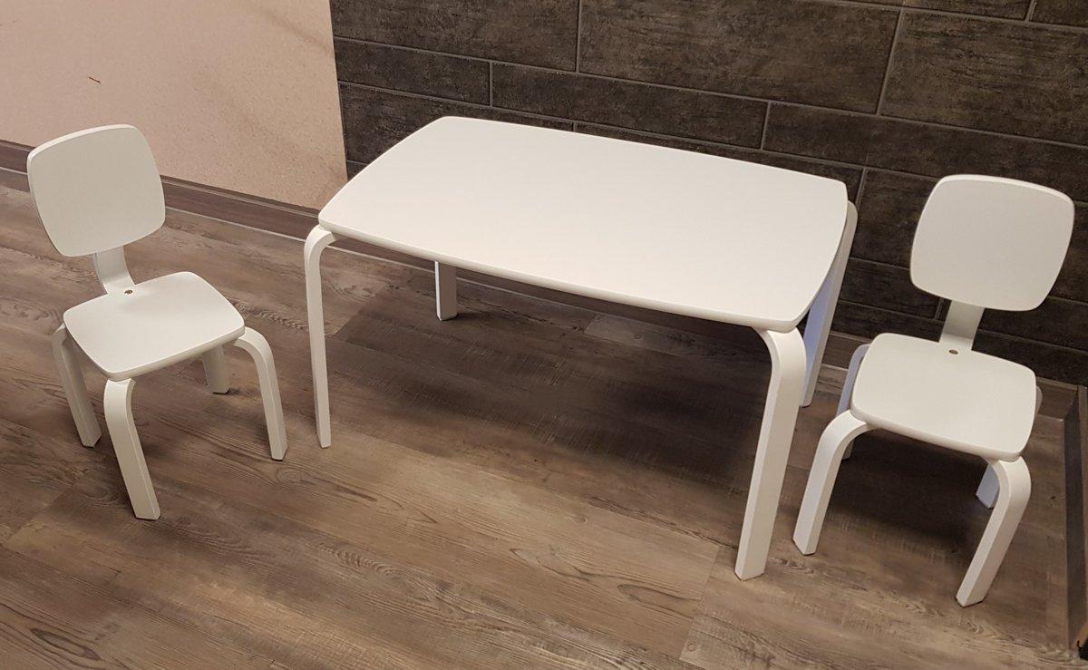 Kinderstoel En Tafel Set.Playwood Set Tafel Met 2 Stoelen Set Kindertafel Met 2 Kinderstoelen Wit