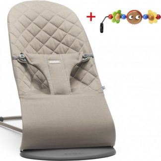 BABYBJÖRN Wipstoeltje Bliss Bundle Zandgrijs Cotton inclusief speelboog
