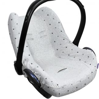 Dooky Seat Cover 0+ Autostoel hoes - Light Grey Crowns