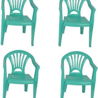 4x Kinderstoelen mint - tuinmeubels- stoelen voor kinderen