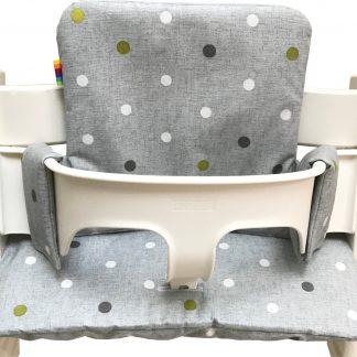 Geplastificeerd kussenset voor de Tripp Trapp kinderstoel van Stokke - Stippen grijs en groen