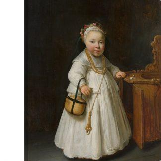 Meisje bij een kinderstoel - Schilderij van Govert Flinck Canvas 120x160 cm - Foto print op Canvas schilderij (Wanddecoratie woonkamer / slaapkamer) XXL / Groot formaat!
