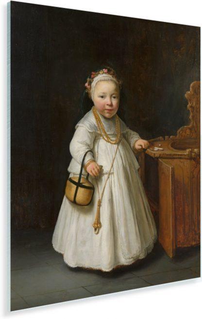 Meisje bij een kinderstoel - Schilderij van Govert Flinck Plexiglas 30x40 cm - klein - Foto print op Glas (Plexiglas wanddecoratie)