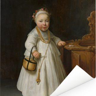 Meisje bij een kinderstoel - Schilderij van Govert Flinck Poster 30x40 cm - klein - Foto print op Poster (wanddecoratie woonkamer / slaapkamer)