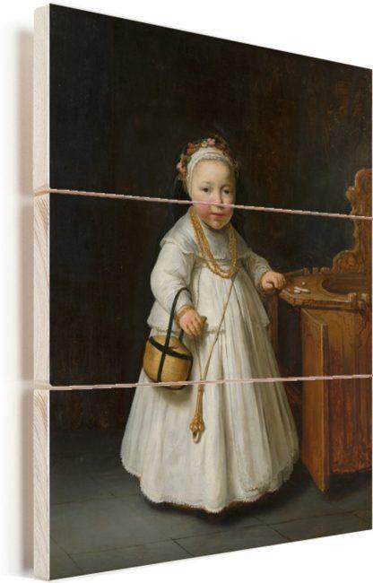 Meisje bij een kinderstoel - Schilderij van Govert Flinck Vurenhout met planken 120x160 cm - Foto print op Hout (Wanddecoratie) XXL / Groot formaat!