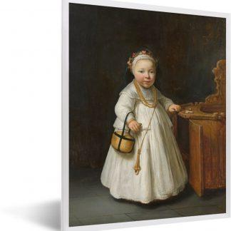 Meisje bij een kinderstoel - Schilderij van Govert Flinck fotolijst wit 30x40 cm - Foto print in lijst - Poster in lijst (Wanddecoratie woonkamer / slaapkamer)