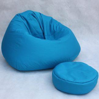 Kinder zitzak met kruk blauw - kinderstoel zitkussen
