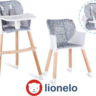 Lionelo Koen - 2 in 1 eetstoel en kinderstoel scandinavisch design - geel-grijs