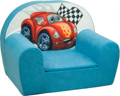 Luxe kinderstoel - kinderfauteuil - sofa - 60 x 45 - blauw - cars
