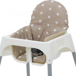 Polini Inlegkussen voor IKEA Antilop Kinderstoel - 'Sterren' Beige