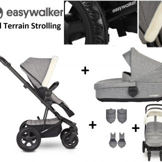 Easywalker Harvey² All Terrain Kinderwagen + Reiswieg + Voetenzak + Autostoel-adapter + Hoogte-adapter Peak Arctic Grey