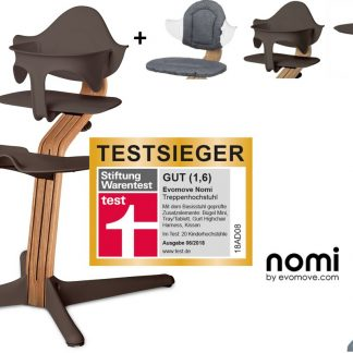 NOMI highchair kinderstoel complete set vanaf de geboorte Basis eiken nature oiled en stoel coffee