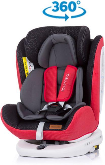 Autostoel Tourneo isofix rood 0-36 kg 360 graden draaibaar