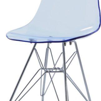 Design kinderstoel DD DSR Junior transparant blauw kuipstoel