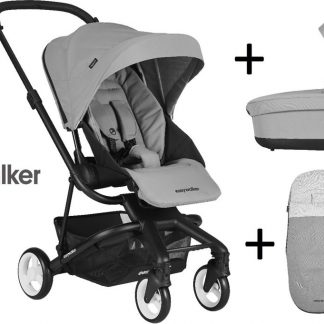 Easywalker Charley Kinderwagen + Reiswieg + Voetenzak + Autostoel-adapter en Hoogte-adapter Cloud Grey