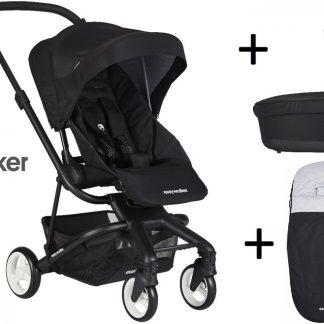 Easywalker Charley Kinderwagen + Reiswieg + Voetenzak + Autostoel-adapter en Hoogte-adapter Night Black