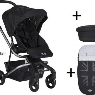 Easywalker MINI Charley Kinderwagen - Inclusief Reiswieg + Voetenzak + Autostoel-adapter + Hoogte-adapter - Oxford Black