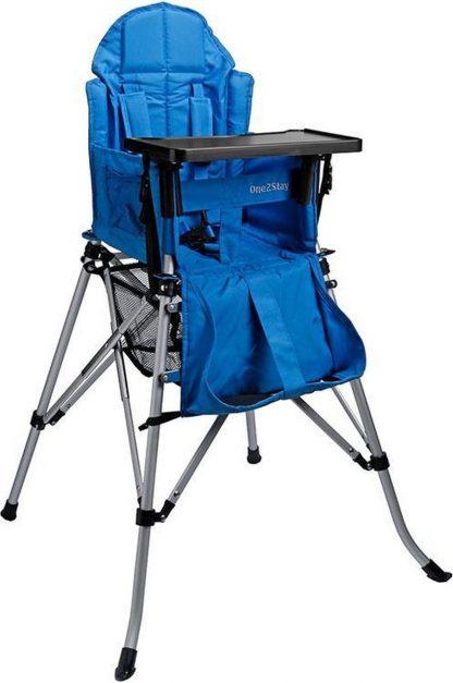 One2Stay Comfort, Opvouwbare Kinderstoel met een comfortabel verstelbare rugleuning, 5 punts veiligheidsgordel en afneembaar eetplateau-Blauw