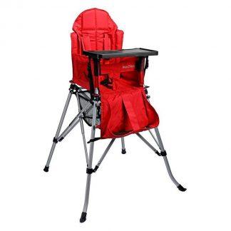 One2Stay Comfort, Opvouwbare Kinderstoel met een comfortabel verstelbare rugleuning, 5 punts veiligheidsgordel en afneembaar eetplateau-Rood