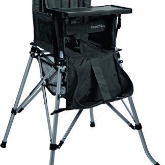 One2Stay Comfort, Opvouwbare Kinderstoel met een comfortabel verstelbare rugleuning, 5 punts veiligheidsgordel en afneembaar eetplateau-Zwart