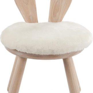 Kinderstoel Konijn - Set van 2 Stoeltjes - Hout met fluffy kussen - J-Line