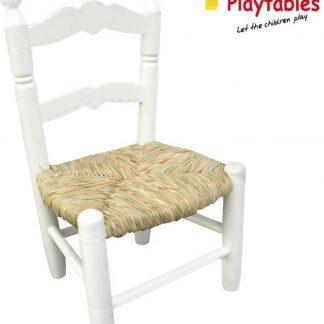 Houten kinderstoeltje Sophie met biezen zitting wit -Biezenmat kinderstoel -stoeltje rieten zitting -Brocante kinderstoel - peuterstoelte - rotan kinderstoeltje