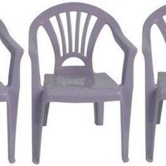 3x Kinderstoelen paars - tuinmeubels- stoelen voor kinderen