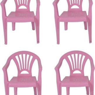 4x Kinderstoelen roze - tuinmeubels- stoelen voor kinderen
