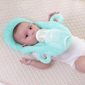 Baby Voedingskussen Drinkkussen Baby fles houder Ondersteuning kussen baby uitzet kinderstoel Papfles hulp Kraamcadeau - Groen