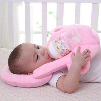 Baby Voedingskussen Drinkkussen Baby fles houder Ondersteuning kussen baby uitzet kinderstoel Papfles hulp Kraamcadeau - Roze