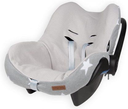 Baby's Only hoes voor autostoel Ster licht grijs / wit