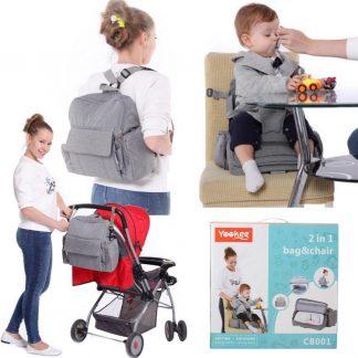 Decopatent® Rugzak Luiertas met ingebouwde Zitverhoger - Kinderstoel - Baby Verzorgingstas - Stoelverhoger - Jongens - Meisjes