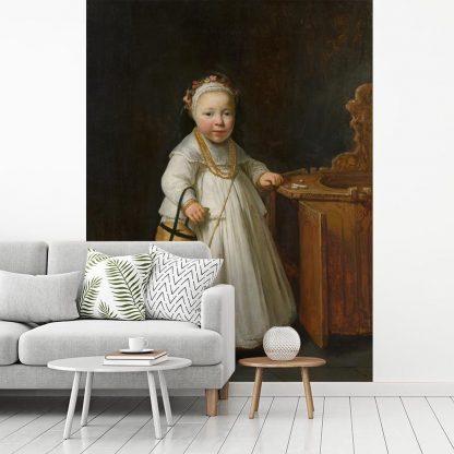 Fotobehang vinyl - Meisje bij een kinderstoel - Schilderij van Govert Flinck breedte 205 cm x hoogte 270 cm - Foto print op behang (in 7 formaten beschikbaar)