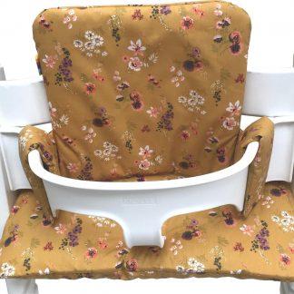 Geplastificeerd kussenset voor de Tripp Trapp kinderstoel van Stokke - Veldbloemen okergeel