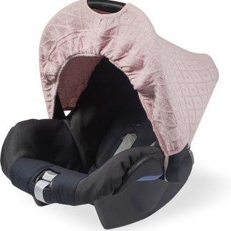 Jollein Diamond Knit Autostoel Zonnekap - 0-9 Maanden - Vintage Roze