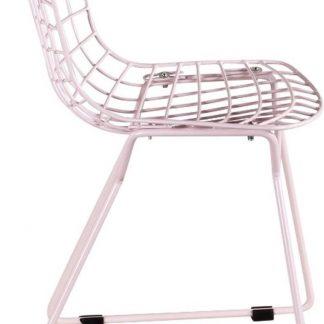 Kinderstoel Bertoia Style in Roze - Wit kussen - Draadstoeltje