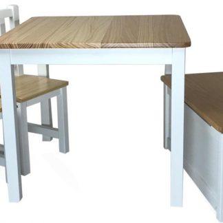 Kindertafel met kinderstoelen en kinderbankje met opbergruimte. Tafel voor kinderen met klepbankje. Speeltafel Knutseltafel en speelgoedkist voor jongens en meisjes