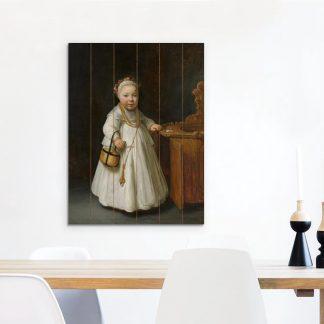 Meisje bij een kinderstoel - Schilderij van Govert Flinck Vurenhout met planken 60x80 cm - Foto print op Hout (Wanddecoratie)