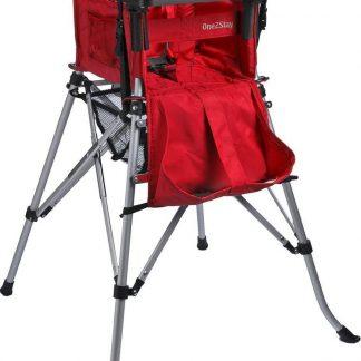 One2Stay Basic+, Opvouwbare Kinderstoel met 5 punts veiligheidsgordel en afneembaar eetplateau - Rood