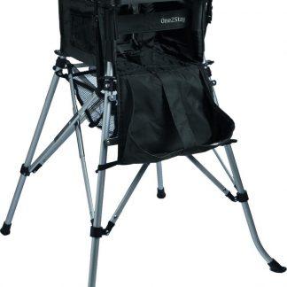 One2Stay Basic+, Opvouwbare Kinderstoel met 5 punts veiligheidsgordel en afneembaar eetplateau - Zwart