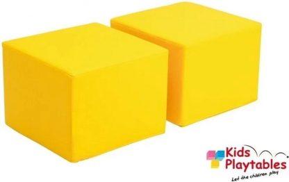 Poef kinderen geel set van 2 - kinderpoefje - kinderstoel - zitzak - kinderzetel - poef vierkant -poef lederlook - kinderkamer