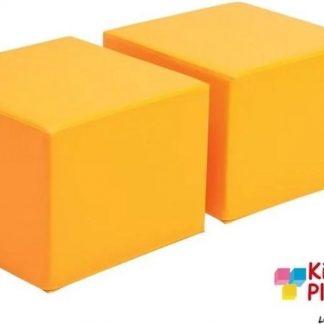 Poef kinderen oranje set van 2 - kinderpoefje - kinderstoel - zitzak - kinderzetel - poef vierkant -poef lederlook - kinderkamer